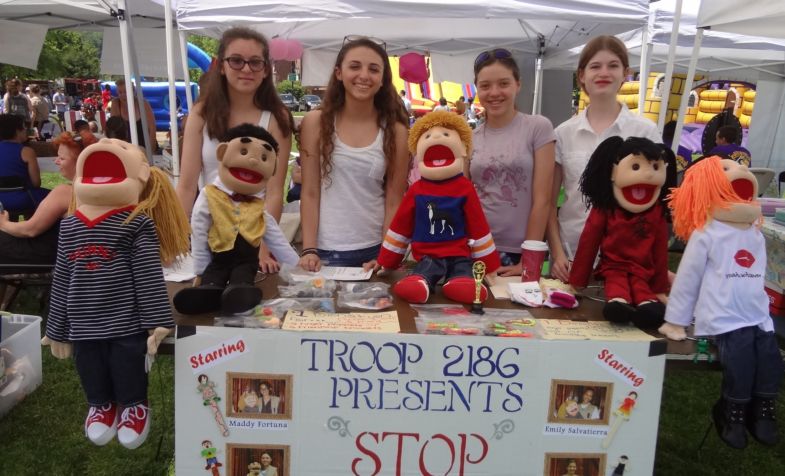 """Stop the Bully... One Puppet at a Time"" Troop 2186 promotes their anti-bullying PSA at Community Day in Yorktown."