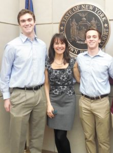 2016 Senior Award Winners, and Youth Court Interns, Matthew Scully (L) and Matthew Corrado (R) with Youth Court Director, Nancy Levin.
