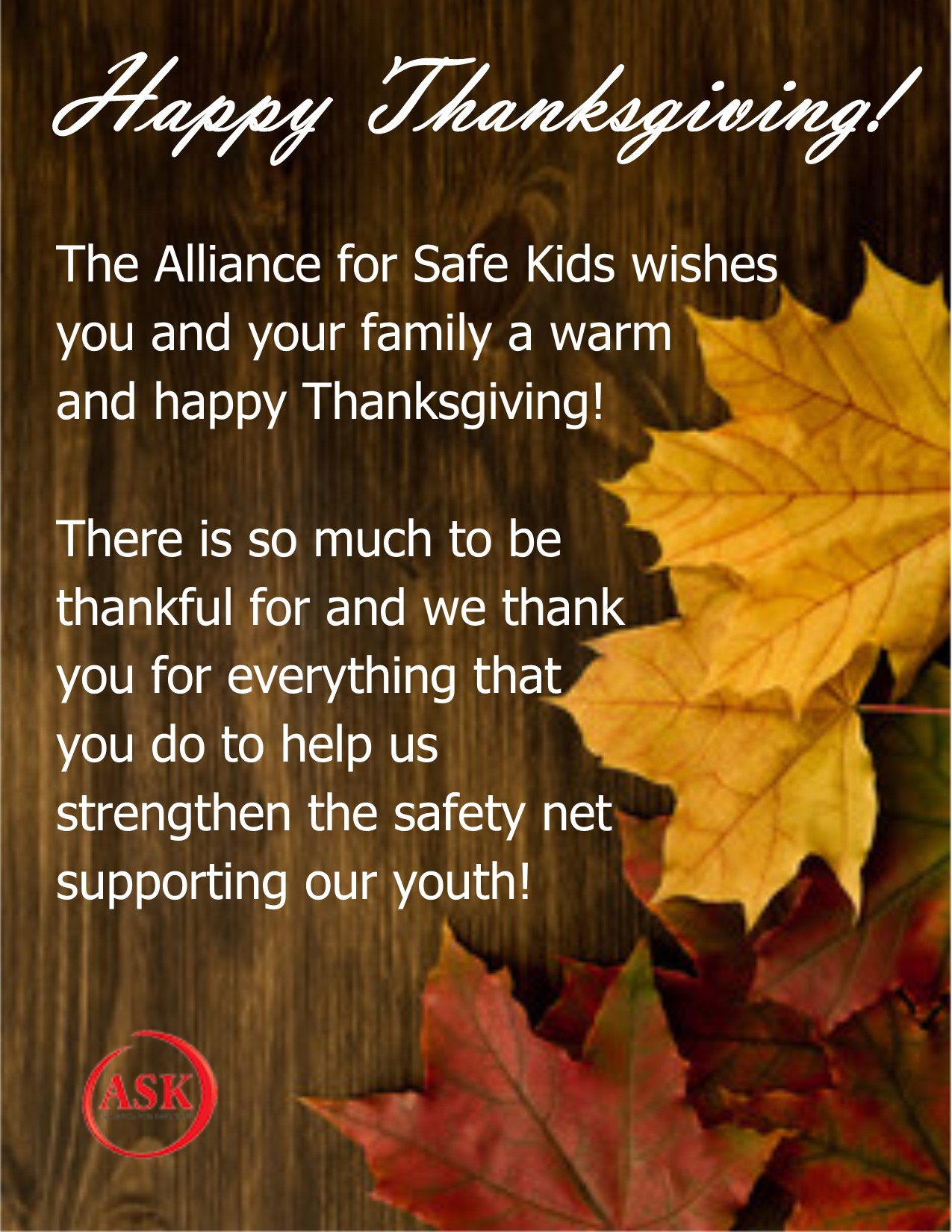 happy thanksgiving alliance for safe kids